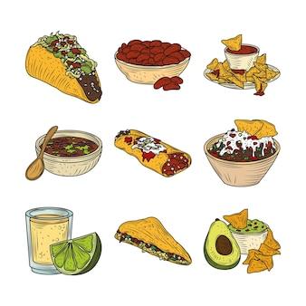 Mexikanisches essen mit taco burrito guacamole tequila nachos traditionelle, vintage gravierte farbe