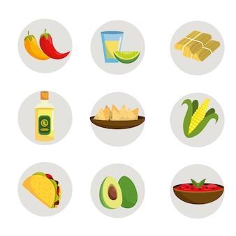 Mexikanisches essen mit tequila und avocado