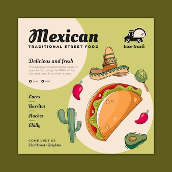 Mexikanisches essen quadratischer flyer-vorlage