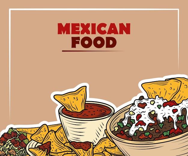 Mexikanisches essen traditionelle nachos-sauce fleisch gucamole-sauce und käse, vintage gravierte farbe