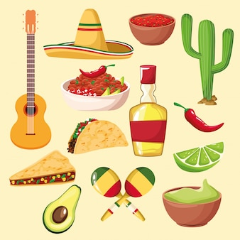 Mexikanisches essen und elemente