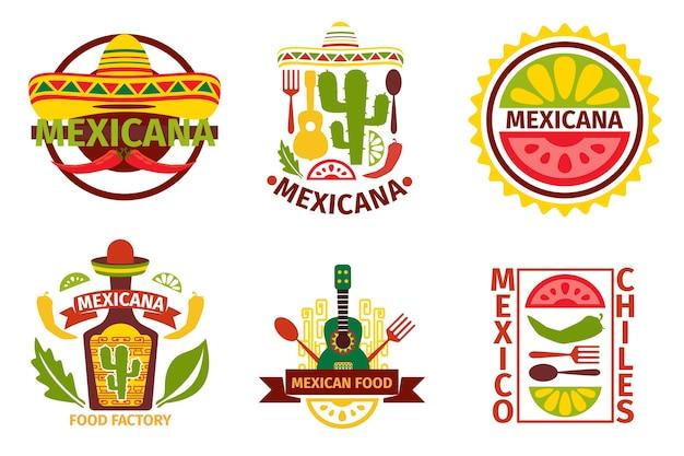 Mexikanisches food-logo, etiketten, embleme und abzeichen. sombrero und tequila flasche, gitarrenelement, vektorillustration. mexikanische lebensmittelvektorabzeichen und mexikanische lebensmittelvektoretiketten