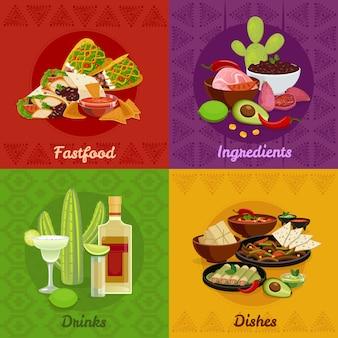 Mexikanisches gebürtiges Lebensmittel würzige Tellerimbisse und Getränke 4 flache Ikonenquadrat-Zusammensetzungsfahne