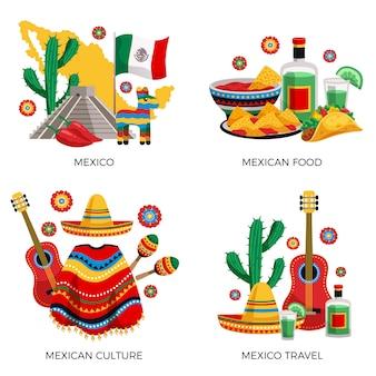 Mexikanisches kulturtraditionslebensmittel, buntes konzept mit kaktusgitarren-poncho-tequila-tacos