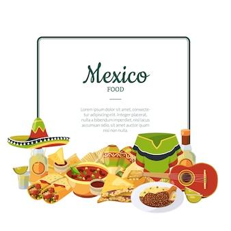 Mexikanisches lebensmittel der vektorkarikatur unter rahmen