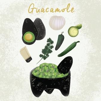 Mexikanisches lebensmittel des guacamole - hand gezeichnetes rezept