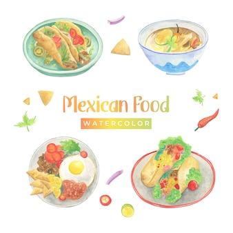 Mexikanisches lebensmittelaquarell
