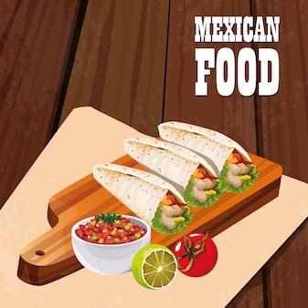 Mexikanisches lebensmittelplakat mit burritos
