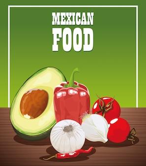 Mexikanisches lebensmittelplakat mit gemüse