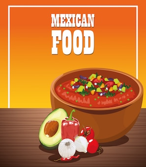 Mexikanisches lebensmittelplakat mit gemüsesalat