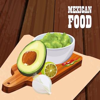 Mexikanisches lebensmittelplakat mit guacamole