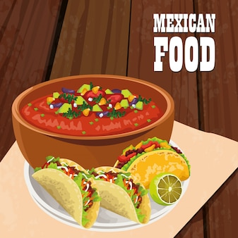 Mexikanisches lebensmittelplakat mit tacos
