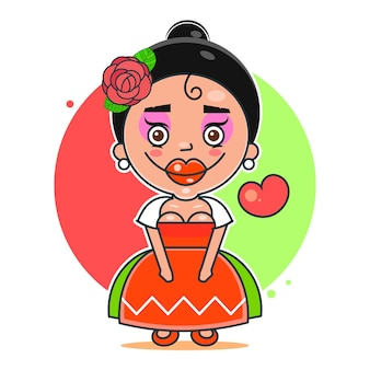 Mexikanisches mädchen mit einer rose auf ihrem kopflogo. mexikanische fast-food-logo-vorlage. vektor-illustration geeignet für grußkarten, poster oder t-shirt-druck.