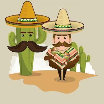 Mexikanisches mannzeichen mit kulturikonen
