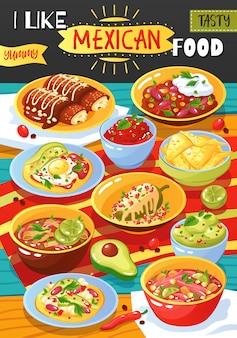 Mexikanisches nahrungsmittelanzeigen-plakat