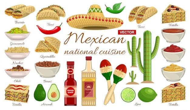 Mexikanisches nahrungsmittelkarikatursatzikone. illustration würzige mahlzeit auf weißem hintergrund. mexikanisches essen der isolierten karikatursatzikone.
