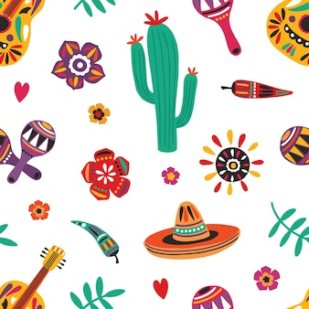 Mexikanisches nahtloses muster mit traditionellem mariachi-sombrero, gitarre, maracas, kaktus, pfeffer, blumen
