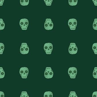 Mexikanisches nahtloses unheimliches muster mit schädel. dia de los muertos