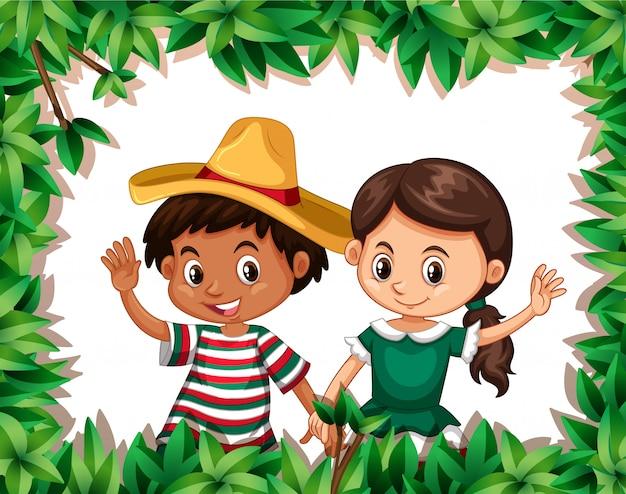 Mexikanisches paar auf naturrahmen