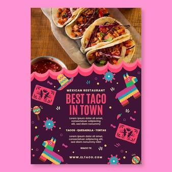 Mexikanisches restaurantlebensmittelplakatschablone