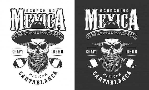 Mexikanisches schädel-emblem mit bart und schnurrbart
