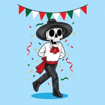 Mexikanisches sekelett tanzen