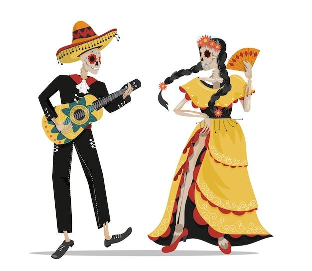 Mexikanisches skelett eines musikers mit gitarre und tänzerin in einem kleid, calavera.