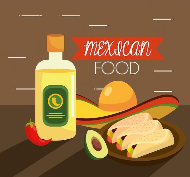 Mexikanisches tacos-essen mit chili und tequila