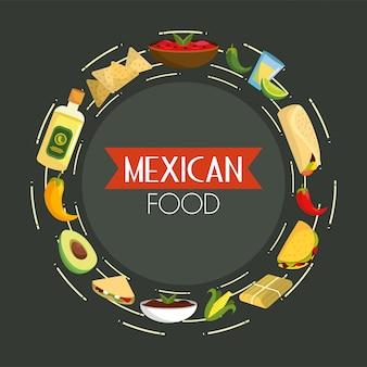 Mexikanisches tacos-essen mit würzigen saucen