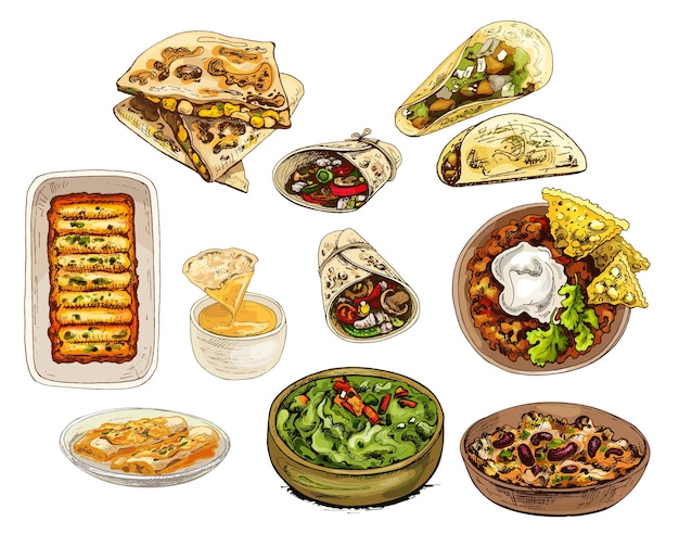 Mexikanisches traditionelles essen set vector vintage schraffur farbe illustration isoliert auf weiss
