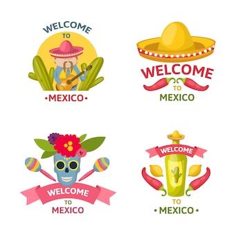 Mexikanisches willkommensemblem, das mit der isolierten und farbigen vektorillustration des willkommens zu den mexikanischen beschreibungen gesetzt wird