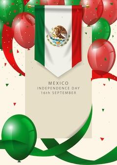 Mexiko-abzeichen mit dekorativen luftballons und bändern, mexiko happy independence day grußkarte