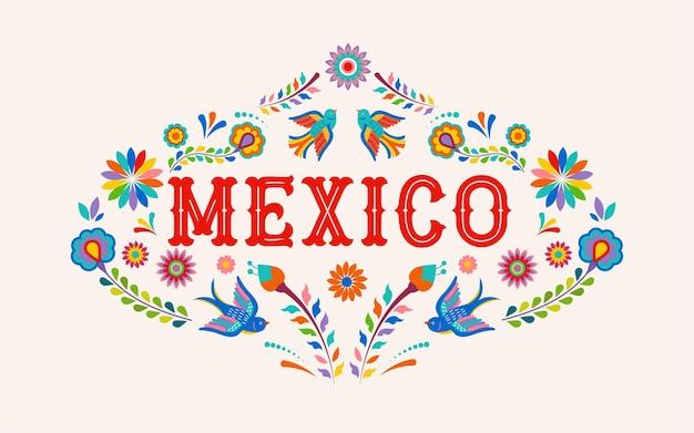 Mexiko-beschriftung mit bunten mexikanischen blumenvögeln und -elementen