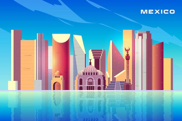 Mexiko- cityskylinekarikatur mit modernen wolkenkratzern