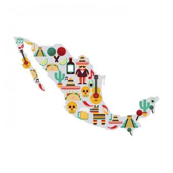 Mexiko-design über weißer hintergrundvektorillustration