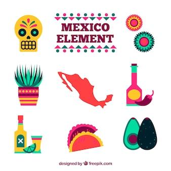 Mexiko elemente in flachen stil gesetzt