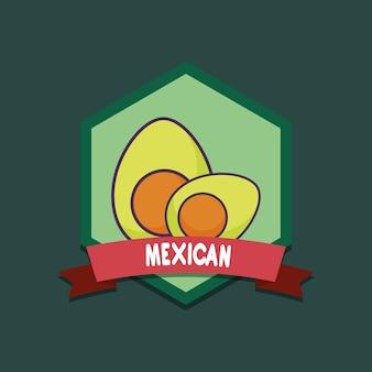 Mexiko-emblem mit avocados über grünem hintergrund, buntes design. vektor-illustration