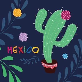 Mexiko-etikett mit niedlichem kaktus, plakatentwurf
