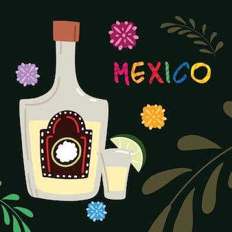 Mexiko-etikett mit tequila-flasche, traditionelles mexikanisches getränkedesign