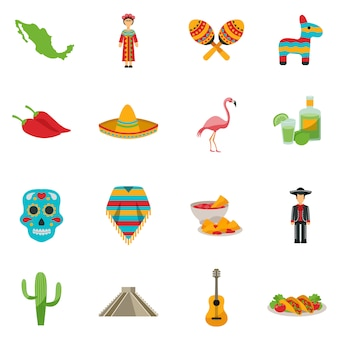 Mexiko flache icon set