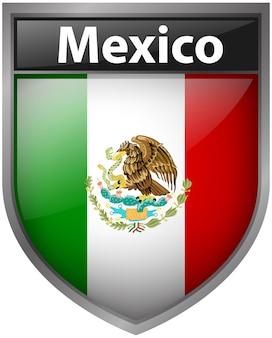 Mexiko-flagge auf abzeichen-design