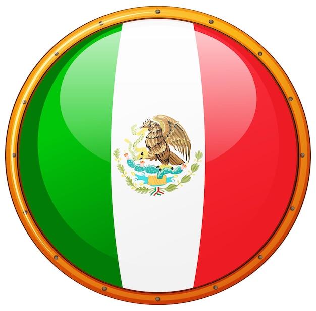 Mexiko-flagge auf rundem abzeichen