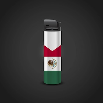 Mexiko-flaggenfeuerzeug-designvektor