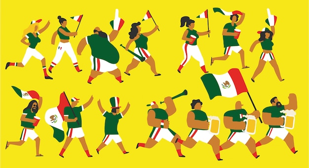 Mexiko-fußballfans eingestellt