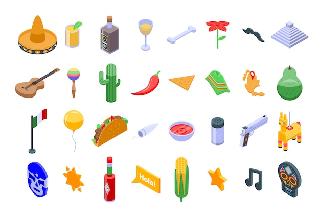 Mexiko-ikonen eingestellt, isometrische art