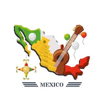 Mexiko-karte mit mexikanischen elementen