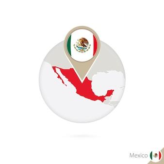 Mexiko-karte und flagge im kreis. karte von mexiko, mexiko-flaggenstift. karte von mexiko im stil der welt. vektor-illustration.