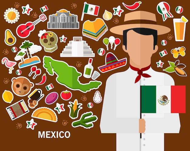 Mexiko-konzepthintergrund flache ikonen