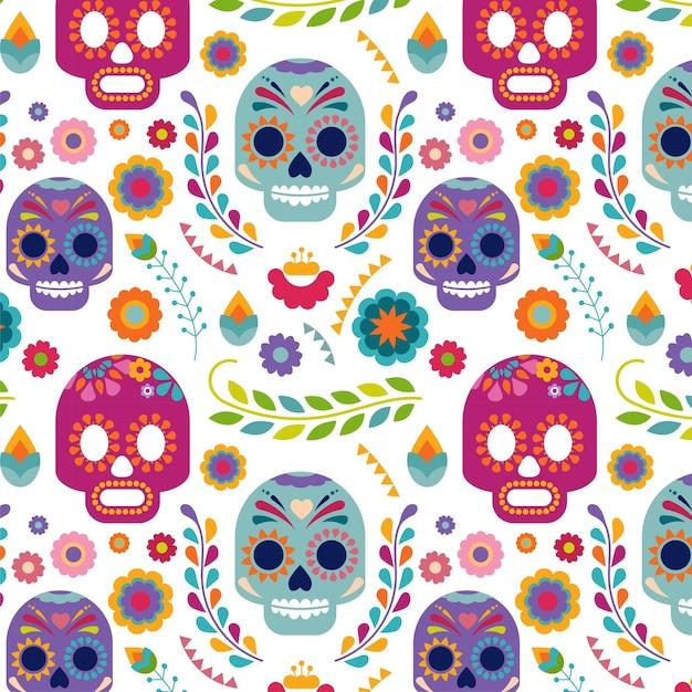 Mexiko-muster mit schädel und blumen