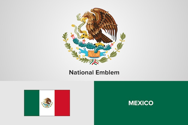 Mexiko national emblem flag vorlage